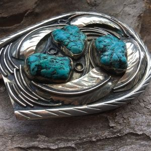 Accessories - .925 Sterling Silver and Turquoise Belt Buckle